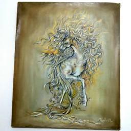 رهوار،تکنیک رنگ وروغن روی بوم ،سبک مینیاتور،سایز 50 در60 گالری هنری محسنی