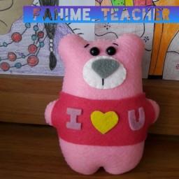 عروسک دستدوز نمدی مدل ( مینی لاولی خرسه ) خرس عاشق پیشه