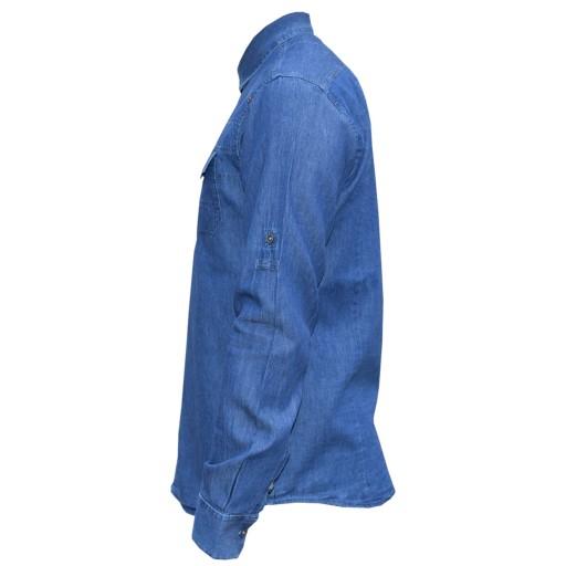 پیراهن جین مردانه آستین بلند اسپرت قواره اسلیم کد 4104922- باسلام