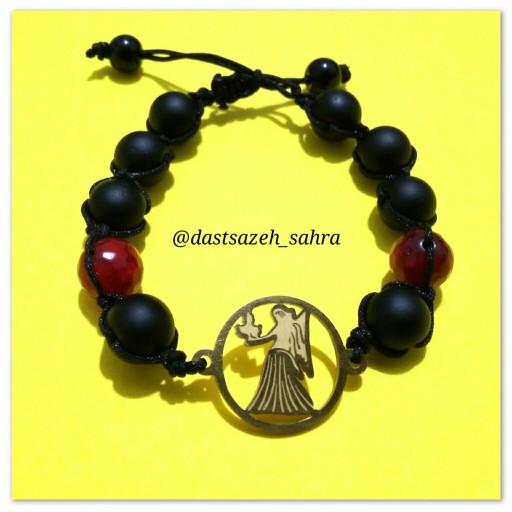 دستبند سمبل ماه شهریور با سنگ اونیکس و عقیق سرخ- باسلام