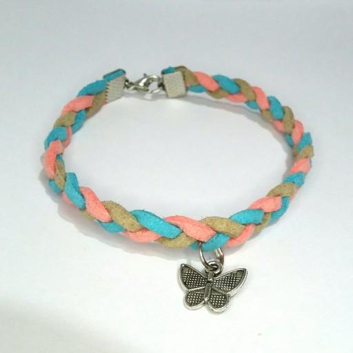 دستبند تریشه بافت با تریشه رنگ صورتی و آبی و نباتی- باسلام