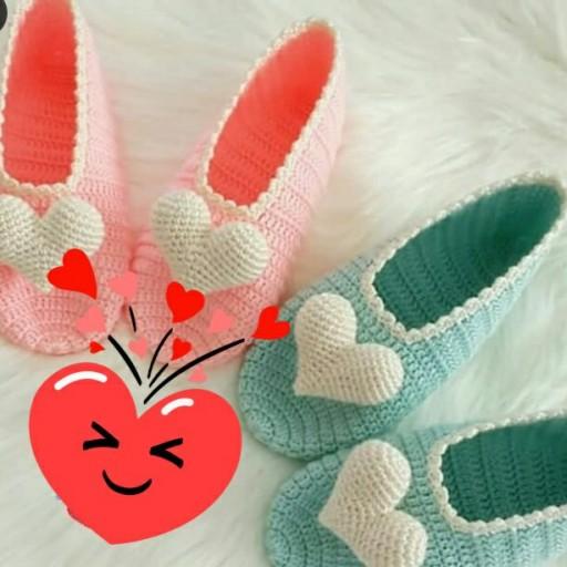 پاپوش های بافتنی عاشقانه قلبی- باسلام