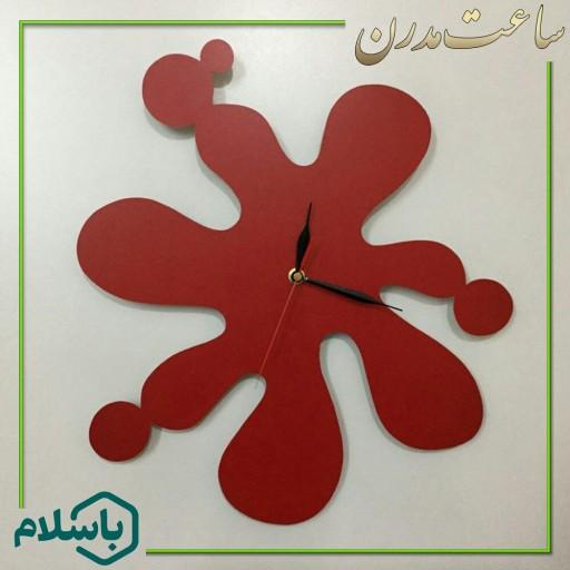 ساعت دیواری چوبی طرح پاشش- باسلام
