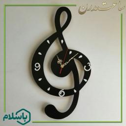 ساعت دیواری دستساز و چوبی طرح نت موسیقی