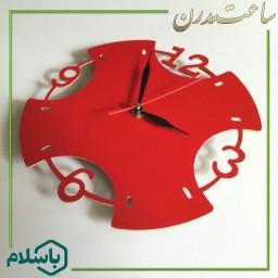 ساعت دیواری چوبی فانتزی زیبا ( قرمز )