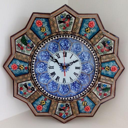 ساعت خاتم کاری خورشیدی با صفحه ی مینا و نقاشی مینیاتور (قالپاق دار)سایز 37 سانتی- باسلام