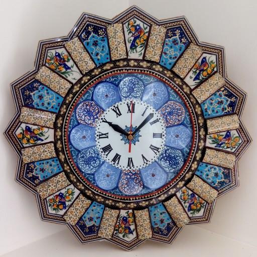 ساعت خاتم کاری خورشیدی با صفحه ی مینا کاری و نقاشی مینیاتور (قالپاق دار) 37سانتی- باسلام