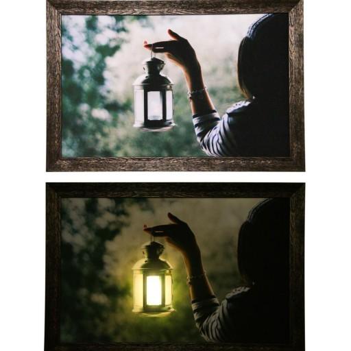 تابلو شب خواب نوری نقطه ای دختر فانوس به دست با نور بک لایت- باسلام