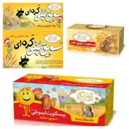 پک سه محصوله تنقلات سالم کودک (بیسکویت سویق کودک و بیسکویت سویق کامل و سویق پفی کره ای)ایران گیاه