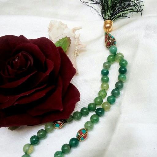 تسبیح سنگ عقیق سبز با مهره های هندی- باسلام
