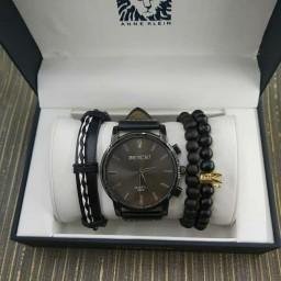 ست ساعت دستبند کوارتر قهوه ای