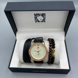 ست ساعت دستبند اسپرت موتور فلزی بدنه استیل رنگ ثابت ضد حساسیت استیل بند چرمی کتان دستبند سه تایی چوبی چرمی سنگی