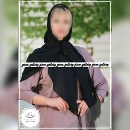 روسری نخی کرپ  مشکی ساده