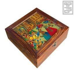 جعبه چوبی چای و دمنوش طرح بزم