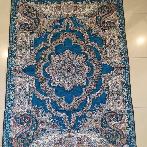 روفرشی 3 متری مخمل ابریشم زرنگار رنگ آبی- باسلام