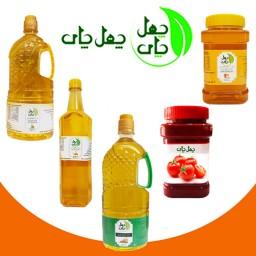 پک خانواده2 لیتر روغن ارده،2 لیتر روغن آفتابگردان،یک لیتر روغن زیتون،عسل،رب گوجه