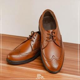 کفش مجلسی و رسمی  تمام چرم اصل گاوی مدل T16 مردانه عسلی و ارسال رایگان