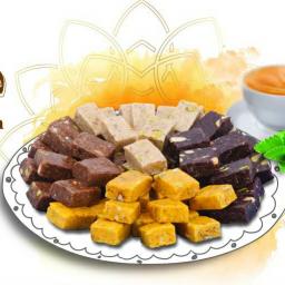 شیرینی لوز بدون قند میکس سه طعم در یک بسته زعفران و قهوه و کاکایو فرامنش