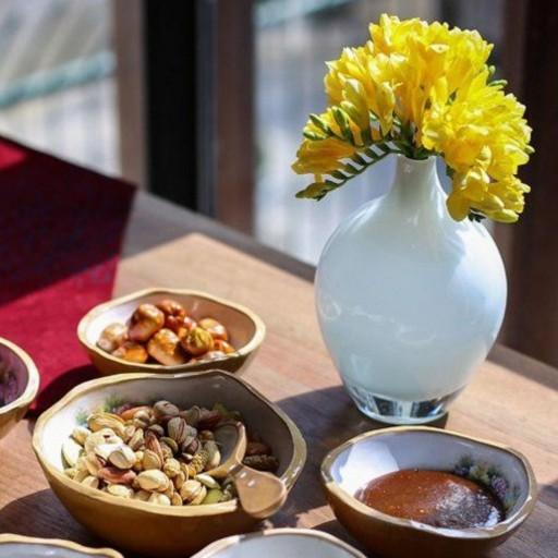 پک گلدانهای دستساز سه تکه سالونگ سفید شیشه گری- باسلام
