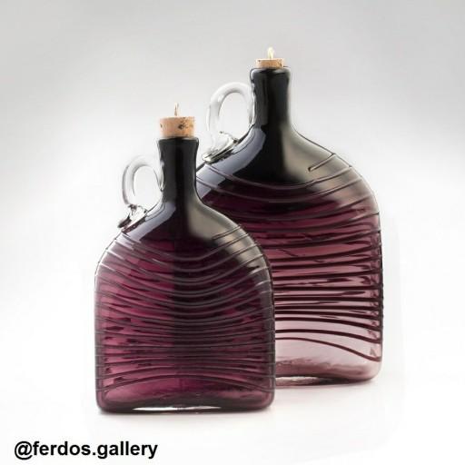 بطری دستساز طرح مستطیل گلدان شیشه ای شیشه گری- باسلام