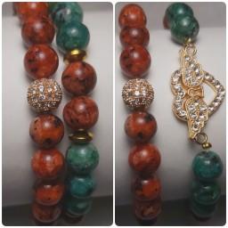 دستبند زنانه با سنگ جید به همراه قفل طوطی استیل و قابل تنظیم دور مچ
