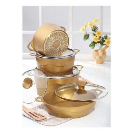 سرویس قابلمه 8 پارچه ای گرانیتی دالغا طلایی - باسلام