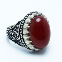 انگشتر نقره مردانه با نگین عقیق