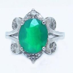 انگشتر نقره زنانه عقیق سبز کد 1260