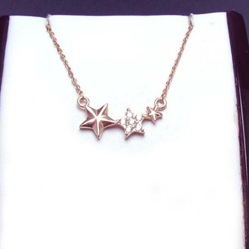 گردنبند نقره زنانه رز گلد طرح ستاره کد 1560- باسلام