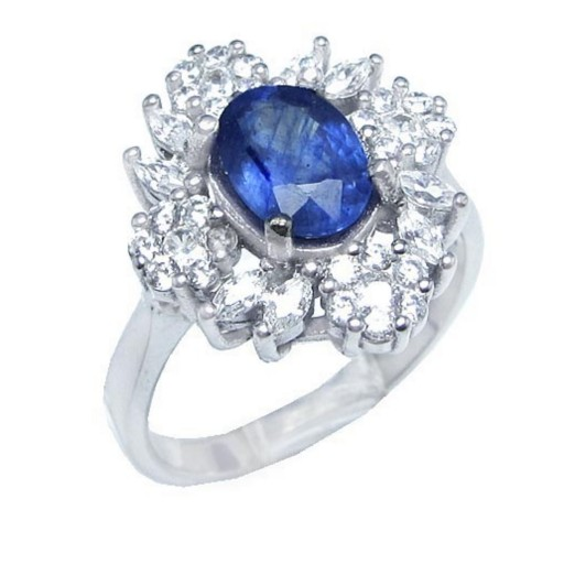انگشتر نقره زنانه یاقوت کبود (آبی) کد 1569- باسلام