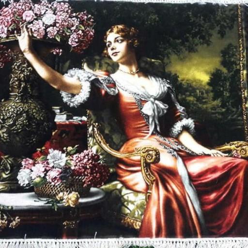 تابلو فرش دستبافت طرح دختر گل چین- باسلام