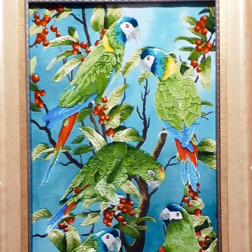 تابلو فرش دستبافت طرح طوطی- باسلام