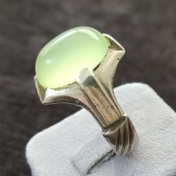 انگشتر نقره عقیق فسفری خوشرنگ رکاب عیاردار