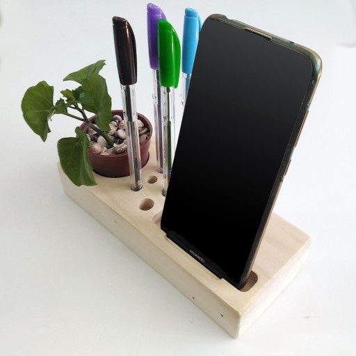 ارگانایزر رو میزی و نگه دارنده موبایل چوبی- باسلام