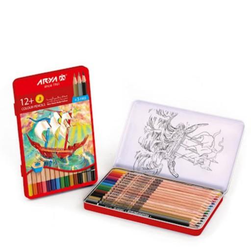 مداد رنگی 12رنگ آریا فلزی سه رنگ اضافه- باسلام