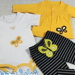سه تیکه نوزادی برند بی بی وان طرح پروانه زرد
