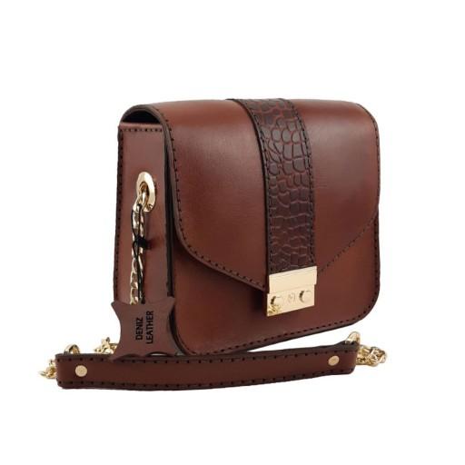 کیف دوشی زنانه چرمی دست دوز عسلی دنیز کد D-133- باسلام