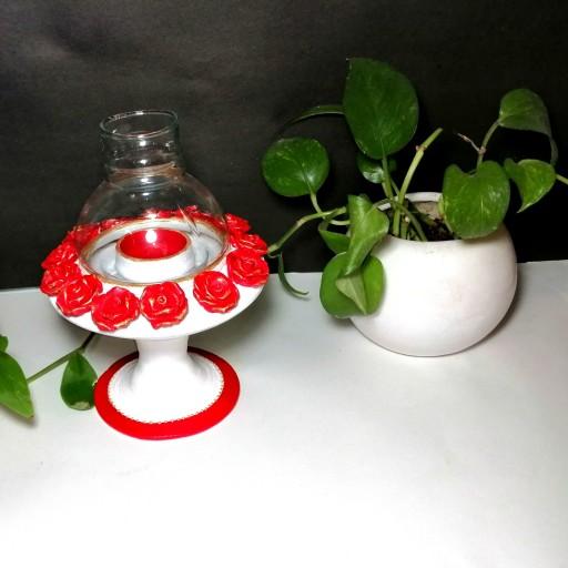 جای شمعی پایه دار چراغ دارجذاب ویترا _هنرآفتاب بارنگ بندیهای خاص- باسلام