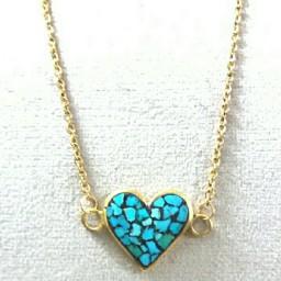 گردنبند فیروزه کوبی طرح قلب پلاک به همراه زنجیر