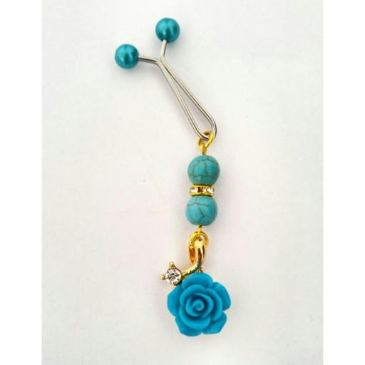 گیره روسری گل رز چینی سبز آبی فیروزه گلابتون - باسلام