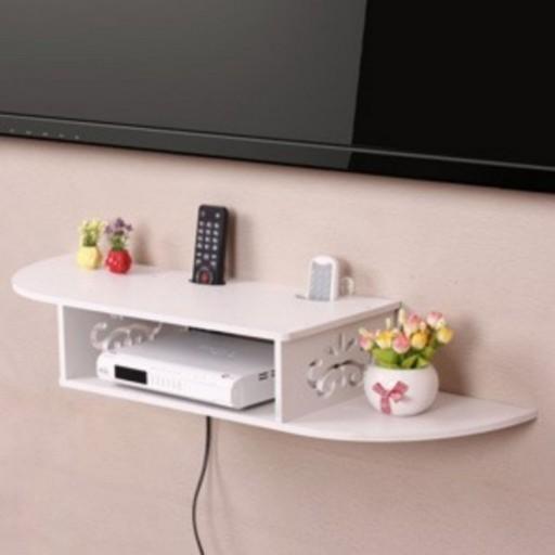 شلف دیواری گیرنده دیجیتال و مودم و DVD دو طبقه  80 سانتیمتر PVC- باسلام