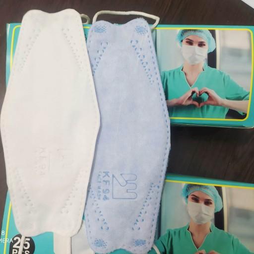 ماسک سه بعدی چهار لایه لوگودار سفید ( بسته 25 عددی )- باسلام