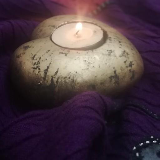 جاشمعی قلب پتینه طلایی تک سایز هنر دست صنایع دستی چهارباغ- باسلام