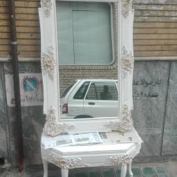 آیینه و کنسول چوبی سفید گل طلایی(125در75)