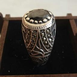 انگشتر نقره اونیکس مخرج کاری شده (عقیق سیاه)