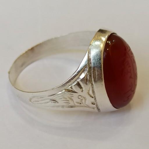 انگشتر نقره عقیق خط پنج تن- باسلام