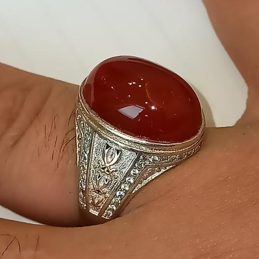 انگشتر عقیق یمنی سرخ- باسلام
