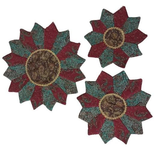 رومیزی 3تکه طرح خورشیدی ترمه- باسلام
