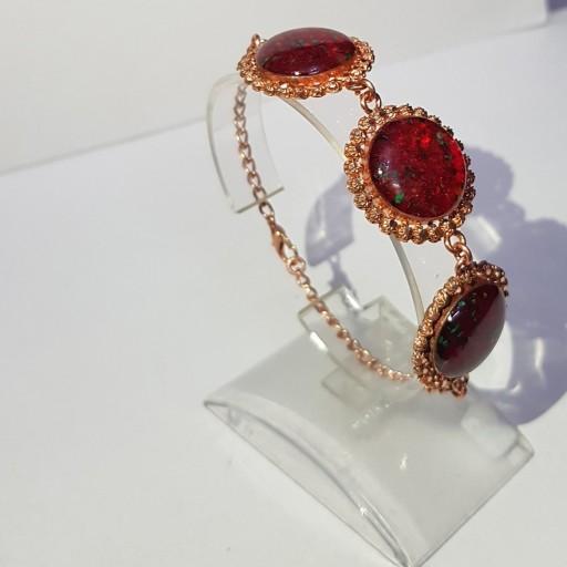 دستبند قطاری خرده سنگ قرمز- باسلام