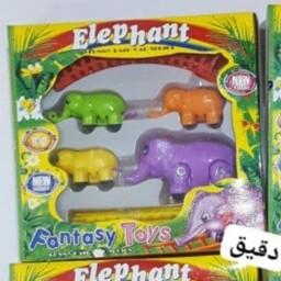 اسباب بازی قطار فیل های رنگی رنگی به قیمت کارخانه و عمده